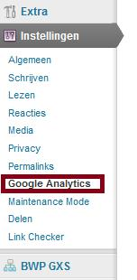 Google Analytics Plugin navigatie wordpress