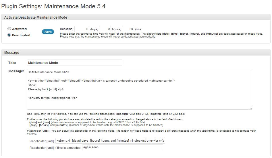 Maintenance Mode Plugin instellingen