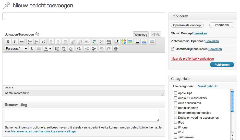 Nieuw bericht in wordpress maken