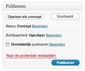 Wordpress bericht publiceren