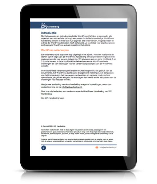 WP HANDLEIDING WordPress Handleiding Voorbeeld 1
