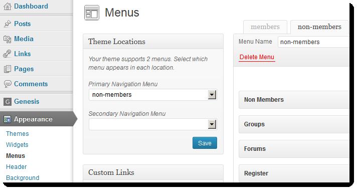 Nav menu roles in wordpress