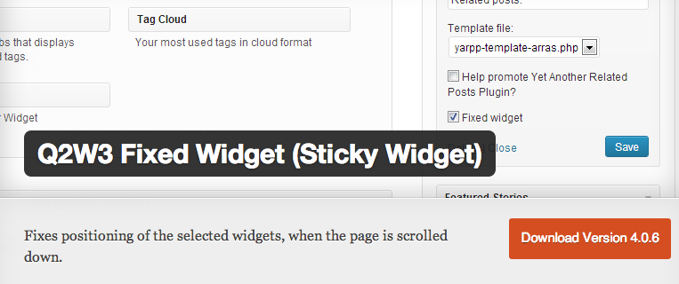 Q2w3 fixed widget for wordpress