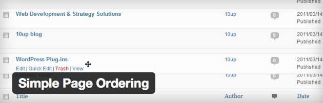 Simple page order plugin voor WordPress
