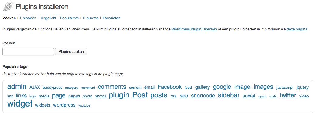 WordPress plugins zoeken