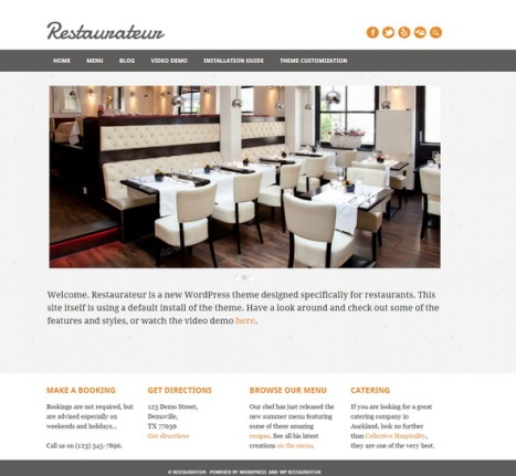 restaurateur wordpress website