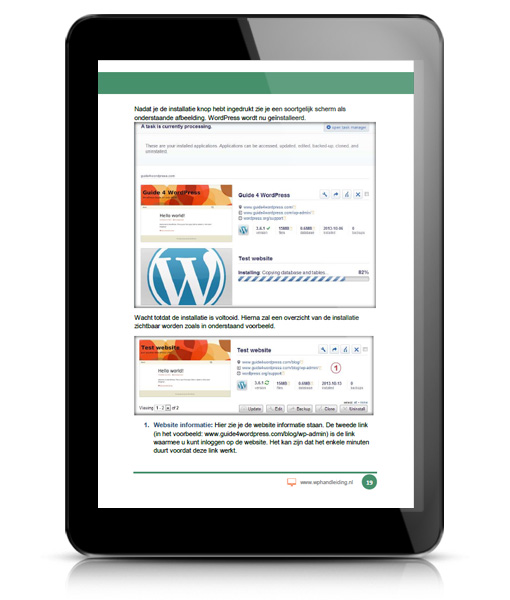 WP WORDPRESS INSTALLEREN Voorbeeld 2