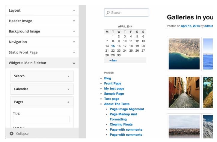 Live widget en header voorbeelden in WordPress 3.9
