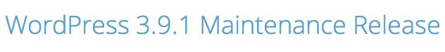 WordPress 3.9.1 maintenace update