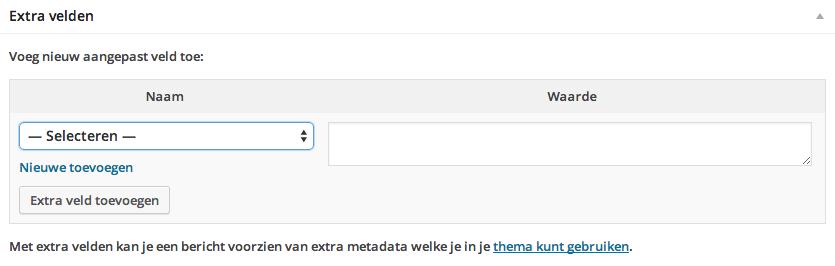 WordPress custom fields en extra velden toevoegen