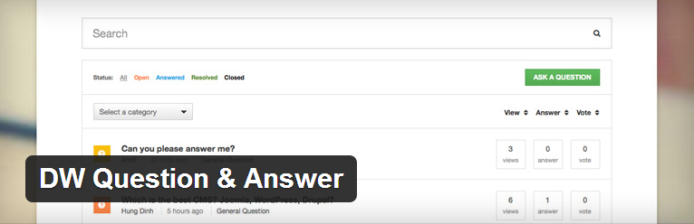 DW Question & Answer plugin voor wordpress