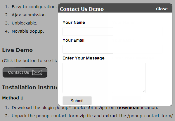 WordPress contact formulier Popup-Contact-Form