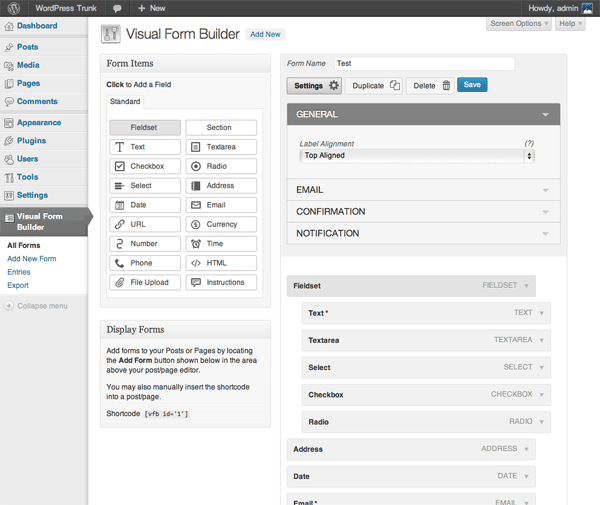 WordPress contact formulier Visual-Form-Builder