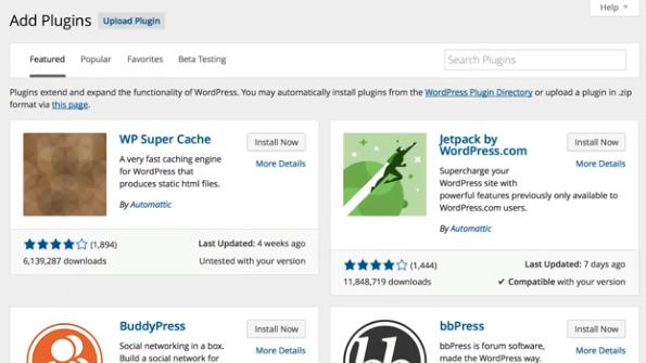 De plugin informatie is sterk verbeterd in WordPress 4.0