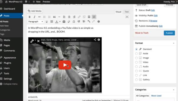 Het toevoegen van media met de visual editor in WordPress 4.0