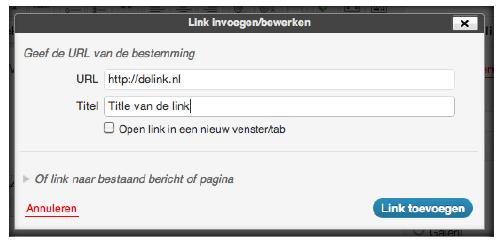 Link toevoegen aan je WordPress bericht