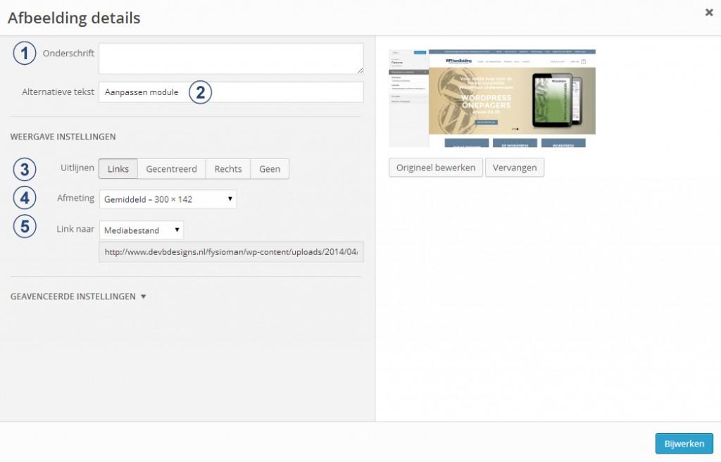 Afbeedling details in WordPress - WordPress kennisbank