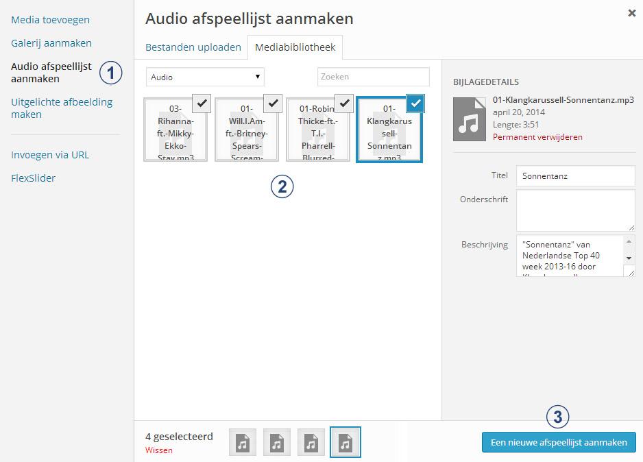 Audio afspeellijst aanmaken