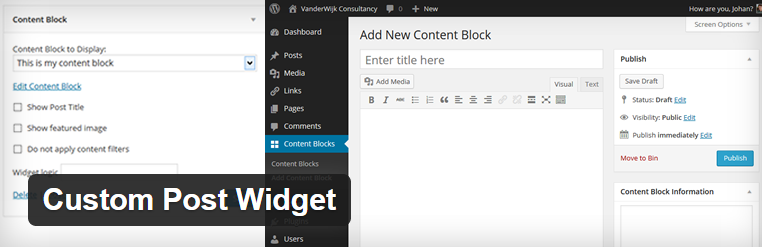 Custom Post Widget plugin voor WordPress