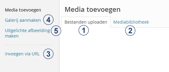 Wordpress kennisbank - Media toevoegen opties