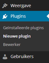 Nieuwe plugin menu