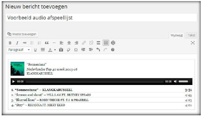 Voorbeeld audio afspeellijst