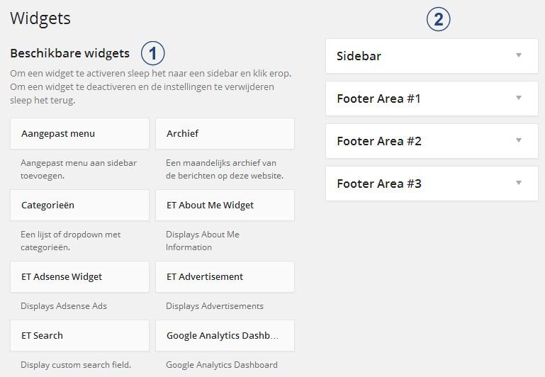 Widgets toevoegen aan je wordpress website