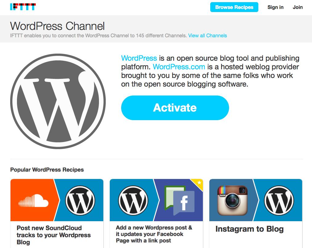 IFTTT koppelen aan je WordPress website