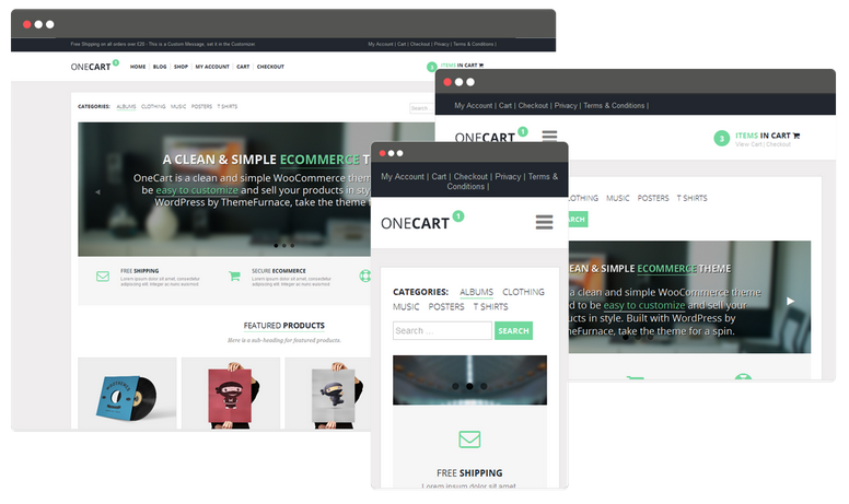 Onecart wordpress thema voor woocommerce