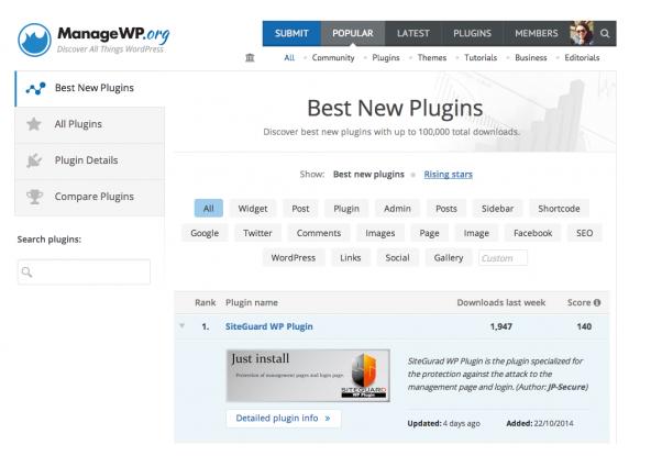 Wat kan ik met de nieuwe plugin module op ManageWP