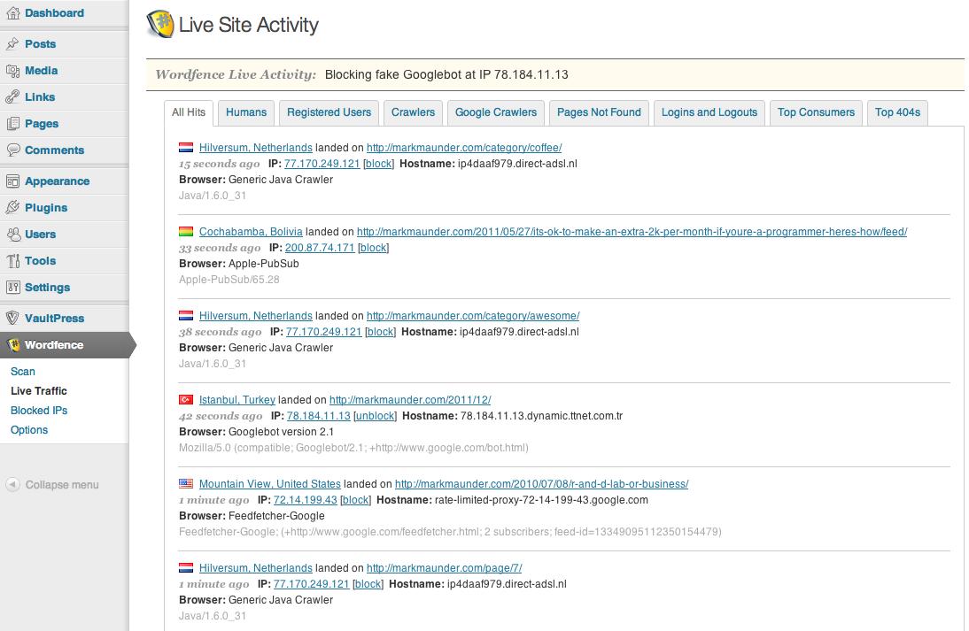 Live site activity wordfence plugin voor wordpress beveiliging