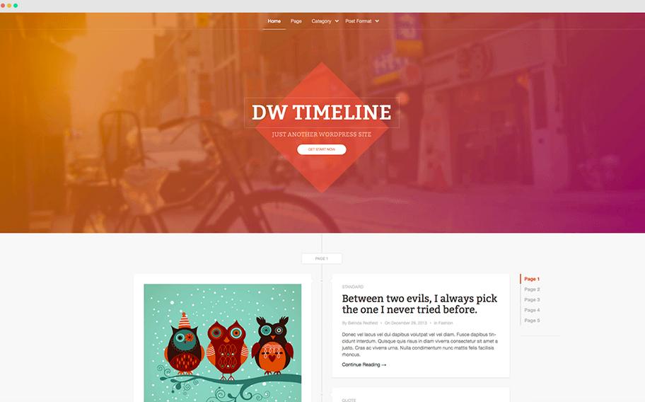 DW timeline GRatis WordPress Thema