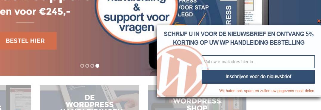 Popup plugin voor WordPress
