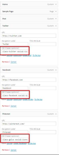 social media knoppen menu