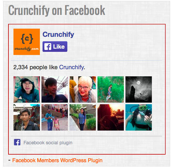 Crunchify Facebook Members plugin