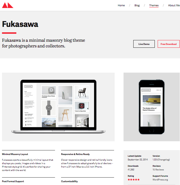 Fukasawa portfolio wordpress thema