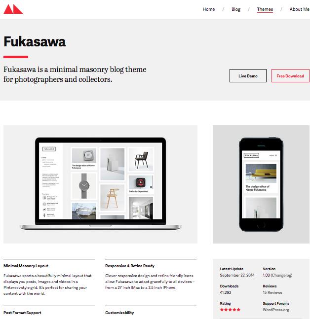 Fukasawa portfolio wordpress thema