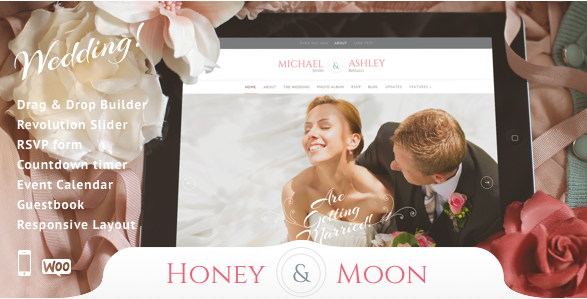 Honeymoon bruiloft wordpress thema