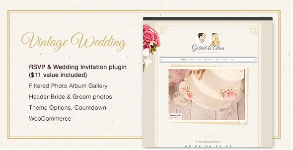 Vintage bruiloft thema voor wordpress