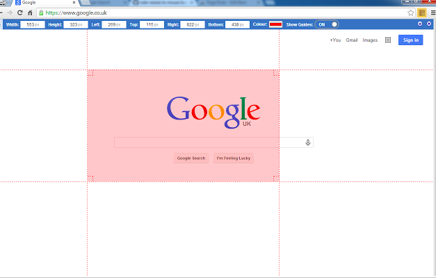 Page Ruler Google Chrome extensie