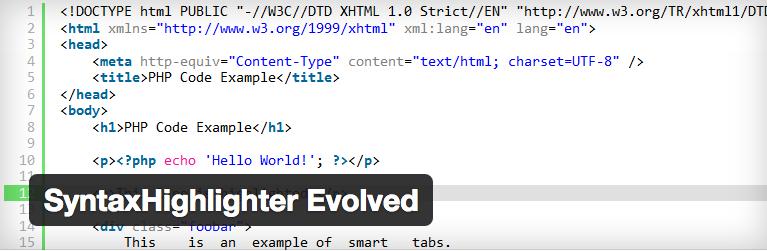 De SyntaxHighlighter Evolved plugin