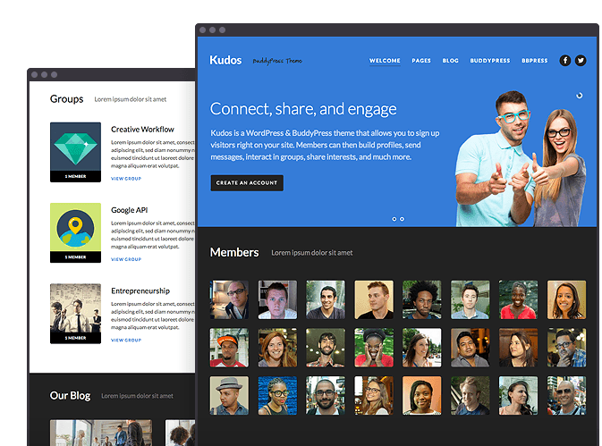 Kudos BuddyPress Theme Social WordPress thema