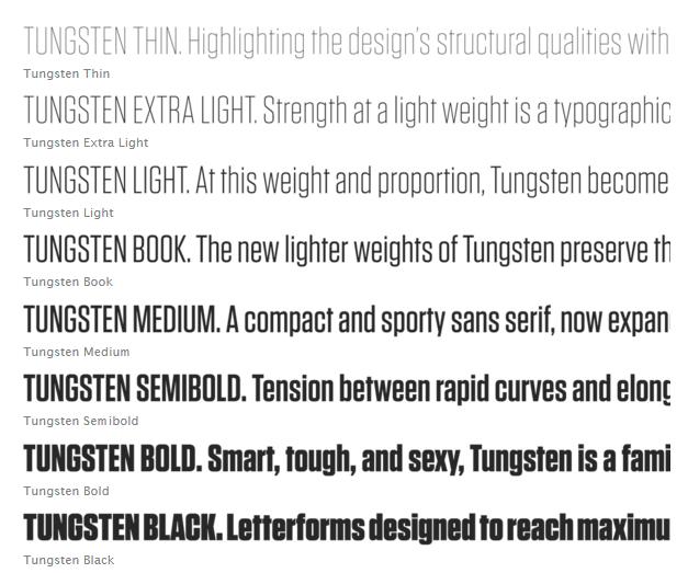 tungsten website fonts