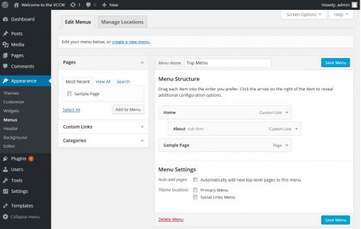website menu maken in WordPress