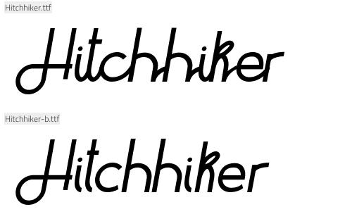 Hitchhiker Font letertype voor websites