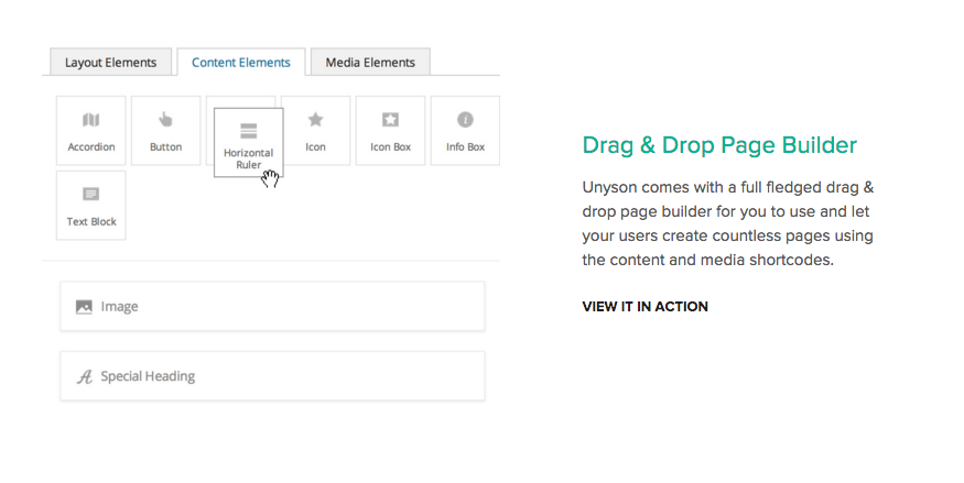 UNYSON FRAMEWORK drag en drop page builder voor WordPress