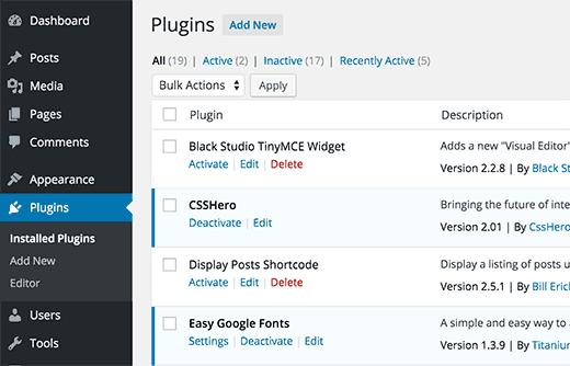 wordpress plugin verwijderen