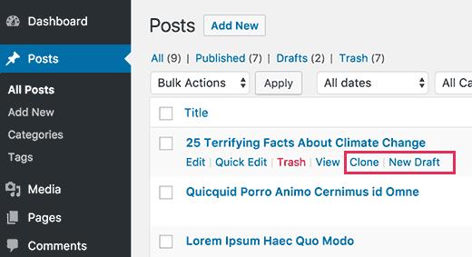 wordpress pagina kopieren
