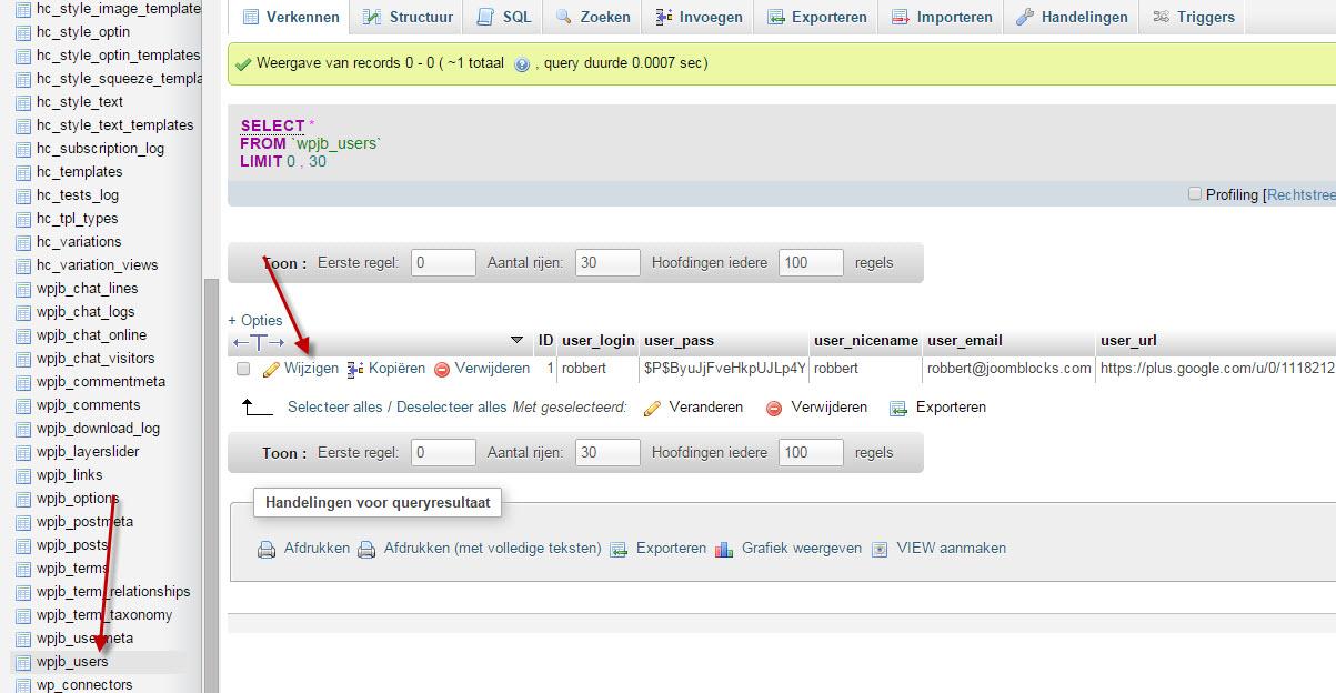 users wordpress wachtwoord kwijt