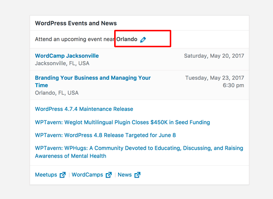 events news widget